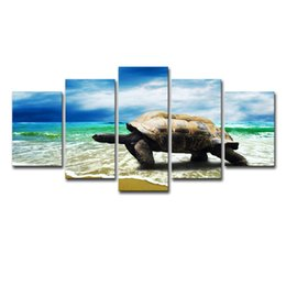 $enCountryForm.capitalKeyWord Australia - The Family Decorates Print In The Oil Painting On Canvas Wall Art Modular Frame Picture Gift 5 Panel Animal Tortoise