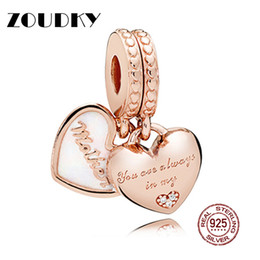 $enCountryForm.capitalKeyWord NZ - ZOUDKY 100% 925 Sterling Silver Original Rose Mother and Daughter Hearts Hanging Charm Pendant Women Jewelry Fit DIY Bracelet