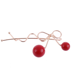 Chinese  1pcs Summer Fashion Women Girl Lovely Korean Red Cherry Shaped Bowknot Hairpin Twist Hair Clip Hairpin Barrette Hair Accessories manufacturers