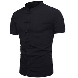 Chinese Collar Shirts Mens UK - New Fashion Mens Chiness Style Solid Shirts Chinese knotted buttons Mandarin Collar Male casual short sleeve shirt