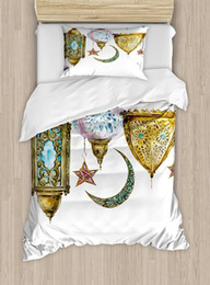 Discount moon stars bedding sets - Lantern Duvet Cover Set Traditional Arabic Lanterns with Star and Moon Shapes Original Design 4 Piece Bedding Set