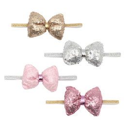 Hair bands for infant girl online shopping - Baby sequin hairbands Kids Infant flower bow Hair Accessories girls hair band for different colors