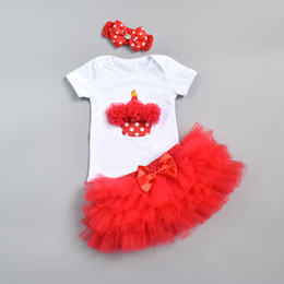 b3a997174736 Infant Clothes Cute Bodysuits Baby Girls Clothing Newborn Jumpsuits Short  Sleeve Cotton Rompers + TuTu Skirts + Headband 3PCS Baby Sets
