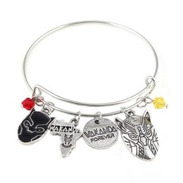 Africa Animals Canada - Silver Tone Black Panther Charm Bracelet With Life Tree Africa Map Spike Leopard Mask Charms Super Hero Bangle Bracelet