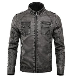 Korean Motorcycle Jacket Australia - Casual Man Jackets Men PU Leather Jacket Male Coats Winter Warm Velvet korean Moto Motorcycle Outerwear