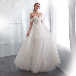 f09eca416408 Real Image 2018 Elegant Off The Shoulder Wedding Dresses A Line Polka Dot Tulle  Lace Boho Beach Garden Bridal Gown Custom Made