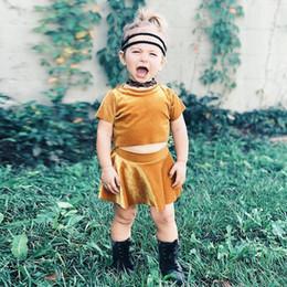 474155dedd3b INS Girls Dresses Fashion Solid Color Baby Dress Girl Velvet Short-sleeved  T-shirt Short Skirts Miniskirt 2PCS Set Free Shipping 975