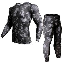 costume tracksuit men 2019 - Rashgarda mma costume bodybuilding clothes compression pants men Bodybuilding T-Shirt 2 piece tracksuit men rashgard kit