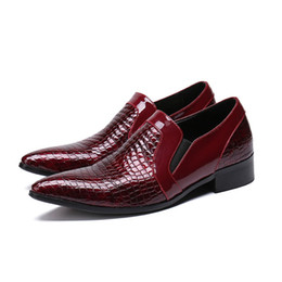 cacdc9977bcfe Classic pointed toe dress shoes men red wedding party loafers mens shoes  formal crocodile prom office shoes flats plus size