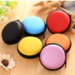 mix box accessories Canada - Mix colors Earphone Holder Carrying Hard Bag Box Case For Earphone Headphone Accessories Earbuds memory Card USB Cable