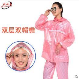 Discount transparent female suit - Raincoat rain pants suit transparent adult male and female outdoor riding Yupi split electric motorcycle raincoat