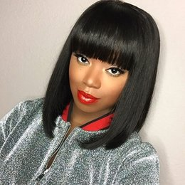 black wig straight bangs NZ - Lace Front Wigs Silky Straight Indian Virgin Hair Short Human Hair Wigs with Bangs Full Lace Wig for Black Women