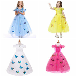 Wholesale diamond neck resale online - snowflake diamond butterfly dress fancy costumes for kids blue gown Halloween baby girl butterfly dress Layers in stock