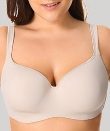 Sexy bra ShirtS online shopping - Women Padded New Sexy Seemless Full Coverage Balconette Big Size T Shirt Bra Blue Blown Pink B C D Dd E Solid