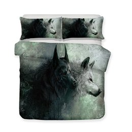 China 3d Print Bed Sets Wholesale White Wolf Theme Luxury 3pcs Bedding Set bule Print suppliers