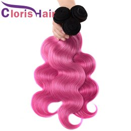 pink human hair bundles 2020 - Rose Pink Ombre Weave Bundles Wavy Malaysian Virgin Hair Dark Roots 1B Pink Body Wave Ombre Human Hair Extensions 100g p