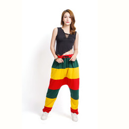 China Adult kids Spring Patchwork Jamaican Reggae Sweatpants striped Costumes Green Yellow Red Panelled Punk Parchwork Harem Hip Hop Dance Pants suppliers