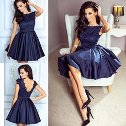 2857558c03c CoCktail formal party dress juniors online shopping - Dark Blue Satin Homecoming  Dresses Zipper Up Back
