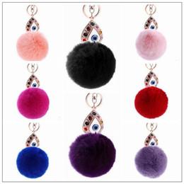 $enCountryForm.capitalKeyWord NZ - 11 Colors 13cm Women Rabbit Hair Fur Ball Keychain Water Drops Eyes Girl Handbag Accessories Key Chain Pompom Bag Accessory CCA9033 50pcs