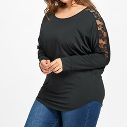 Black See Through Tee Australia - Women plus size lace tops tee xl -5xl see through casual top tee female T-shirt 2018 Fall clothing WS6095y