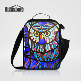 Wholesale Children Portable Small Lunch Bag For School Cute Owl Geometric Printed Lunch Box For Kids Canvas Ice Packs For Children Thermal Cooler Bags