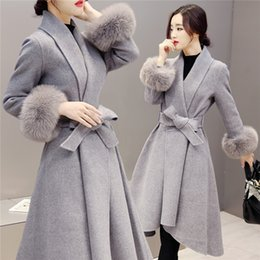 7c704051efbe Brown Slim Women Winter 2018 fashion Cashmere Wool Blend Fabric Coat For  Long Wool Coat And Jacket Solid Outerwear D18110702