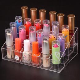 $enCountryForm.capitalKeyWord NZ - Hot 24 Lipstick Holder Display Stand Clear Acrylic Cosmetic Organizer Makeup Case Sundry Storage makeup organizer organizador