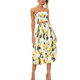 86e09826796c7 2 Pieces Set Beach Summer Dress Women Long Dress Sexy Strapless Boho  Sunflower Lemon Print Dress Female 2018 Fashion Clothing