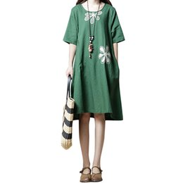 151bdb3d58 Vintage Women Loose Cotton Linen Dress Embroidered Flower O Neck Short  Sleeve Midi Summer Dresses 2018 Literary Style Vestidos