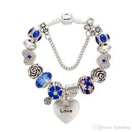 $enCountryForm.capitalKeyWord Australia - 2017 New Charm Bracelet Silver Pandora Bracelets For Women heart Bracelet blue chamilia Beads flower bracelet Diy Jewelry
