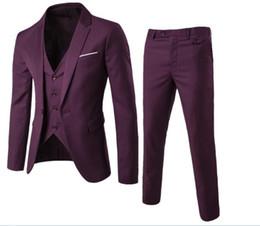 Men S Long Wedding Suit Australia - 2019 Male Autumn Fashion business stripe Long sleeve high quality wedding dress Men's suits coat Vest trousers S-6XL