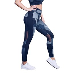 982b2fa76256 Patchwork Mesh Leggings For Women Workout Tights Ladies High Waist Running  Yoga Capri Pants Women Fitness Clothes Stretchy Slim