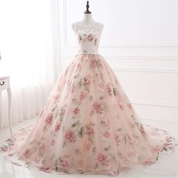 Photo Prints Sizes NZ - Elegant Print Flower Prom Dresses Ball Gown Evening Gown Quinceanera Dresses 2018 Real Photo Vestidos Festa Lace Up Back