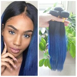 Blue omBre virgin hair online shopping - Dark Roots B Blue Ombre Weave Indian Virgin Human Straight Hair Bundles Two Tone Colored Hair Extensions