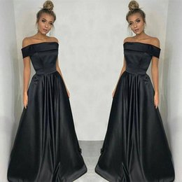 Cheap evening dresses dubai online shopping - Black Stain Dresses Evening Wear Dubai Cheap Party Dresses Arabic Women Off The Shoulder Straight Prom Dress Middle East Formal Gowns