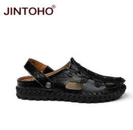 $enCountryForm.capitalKeyWord Canada - JINTOHO New Men Sandals Closed Toe Leather Male Sandal Fashion Breathable Men Leather Shoes Beach Sandals Men Slippers