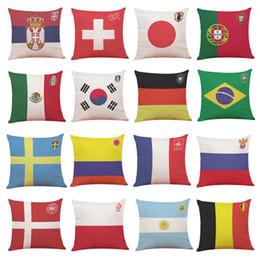 $enCountryForm.capitalKeyWord NZ - Pillow Case 45*45cm Portugal 2018 Football Top 32 Cotton Throw Cushion Case Flag of Germany Brazil Argentina Pillow Cases