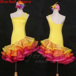 latin suits NZ - Latin Dance Competition Dress Performance Suits Yellow One-shouldered Layered Clothes Designed for Women Tango Cha Cha Rumba Samba Dancing