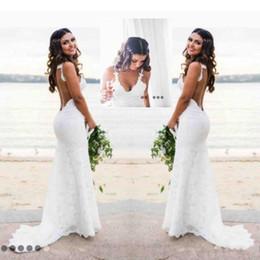 shirt beach spaghetti wedding dress 2019 - 2018 New Sexy Backless Wedding Dresses Mermaid Spaghetti Straps V Neck Lace Beach Style Bride Dresses Fashion Custom Mad