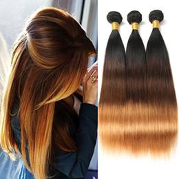 1b Straight Hair Australia - 1B 4 30# Ombre Brazilian Straight Human Hair Three Tone 3 Bundles Straight Hair Extensions 100% Remy Hair Free Shipping