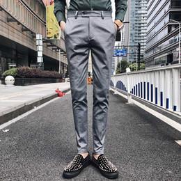 Slim Fit Grey Trousers Men Canada - Office Trousers for Mens Dress Pants Slim Fit Grey Mens Formal Pants Business Classic Pantalones Perfume Masculino