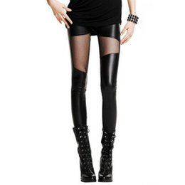 China Women Leggings Faux Leather Stitching Leggings Sexy Lace Black for Women Plus Size Leather Legging Punk Gothic Rock supplier punk gothic leggings suppliers