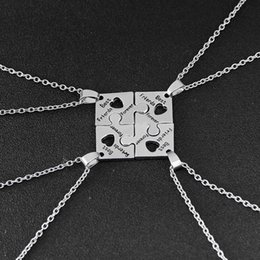 Hot 4Pcs BFF Charm Jigsaw Puzzle Pendant Necklaces Lettering Best Friends Forever Friendship Happy Birthday Gift For Women Men