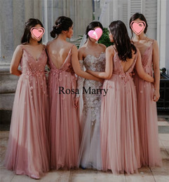cheap plus size dresses blush pink UK - Blush Pink Plus Size Country Bridesmaids Dresses 2020 A Line Backless 3D Floral Long Chiffon Cheap Arabic Maid of Honors Wedding Guest Gowns