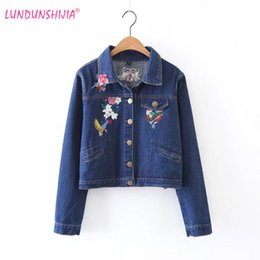 $enCountryForm.capitalKeyWord Canada - LUNDUNSHIJIA Flowers Embroidery Blue Denim Coat For Women Long Sleeve Single Breasted Jacket Female Basic Coats Fashion Clothes