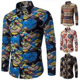 China 14 Colors Mens Printed Casual Contrast Dress Shirt Button Down Shirts Fashion Top M-XXXXXL suppliers