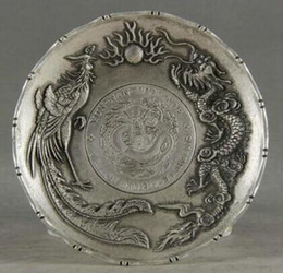 pink chinese dragon NZ - decoration white Copper silver factory outlets Exquisite Old Chinese Decorated Handwork Tibetan Silver Dragon Phoenix Plate