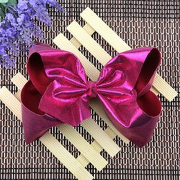 large black hair bow Canada - 7 Inch Large Soft Leather Hair Bow With Alligator Clip Girls Bling Hairbows Christmas Hairpin Kids Hair Accessories.8pcs