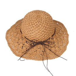 e6453783148  La MaxPa Handmade Knitted Sun Hat Hollow Out Wide Brim Floppy Straw Hat  Bowknot Fashion Beach Sun Cap Summer Hats For Women