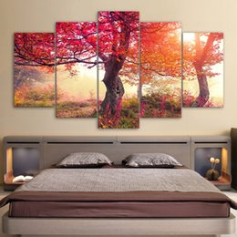 $enCountryForm.capitalKeyWord NZ - HD Printed 5 Piece Painting Seasons Trees Red Trees Forest Painting Large Canvas Art Wall Pictures for Living Room